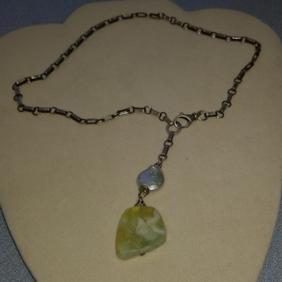 Sterling Necklace Coin Pearl and Natural Stone